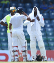 Angelo Mathews cools down in the middle, Sri Lanka v Zimbabwe, only Test, 2nd day, Colombo, July 15, 2017
