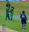 Diana Baig and Kainat Imtiaz celebrate Hasini Perera's wicket, Pakistan v Sri Lanka, Women's World Cup, Leicester, July 15, 2017