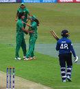 Diana Baig and Kainat Imtiaz celebrate Hasini Perera's wicket, Pakistan v Sri Lanka, Women's World Cup, Leicester, July 15, 2017