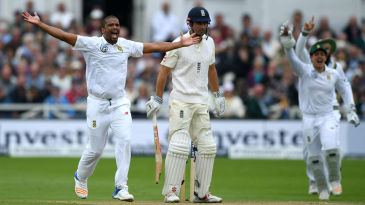 Vernon Philander appeals for the wicket of Alastair Cook