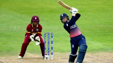 Tammy Beaumont launches one over the off side