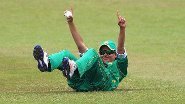 Sana Mir catches Chamari Atapattu at midwicket