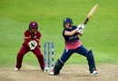 Katherine Brunt laces a cut during her 14, England v West Indies, Women's World Cup, Bristol, July 15, 2017