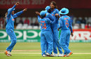 Jhulan Goswami celebrates with her team-mates after dismissing Rachel Priest, India v New Zealand, Women's World Cup, Derby, July 15, 2017