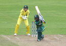 Trisha Chetty drives the ball down the ground, Australia v South Africa, Women's World Cup, Taunton, July 15, 2017