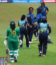 Chandima Gunaratne celebrates with her team-mates after dismissing Ayesha Zafar, Pakistan v Sri Lanka, Women's World Cup, Leicester, July 15, 2017