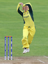 Kristen Beams goes through her action, Australia v South Africa, Women's World Cup, Taunton, July 15, 2017