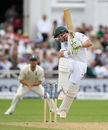 Dean Elgar got in a tangle against a Ben Stokes bouncer and was caught at square leg, England v South Africa, 2nd Investec Test, Trent Bridge, 3rd day, July 16, 2017
