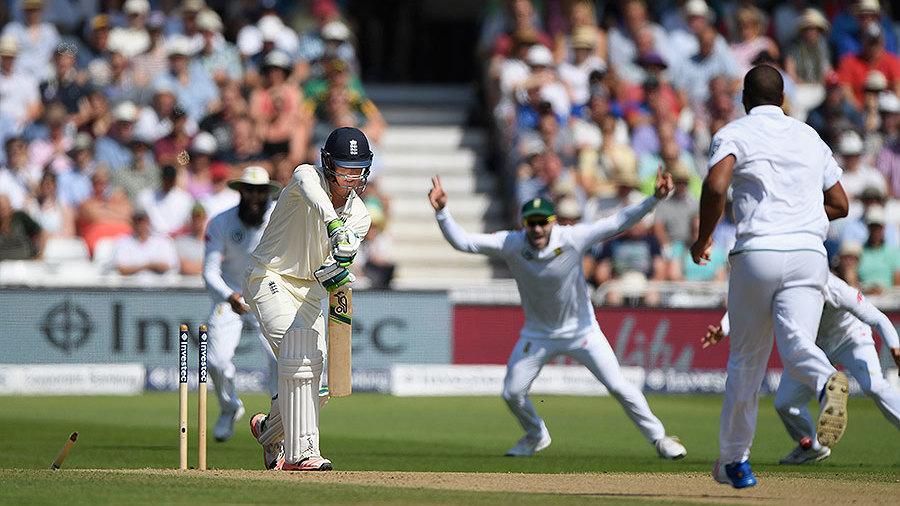 Keaton Jennings was bowled by Vernon Philander for 3