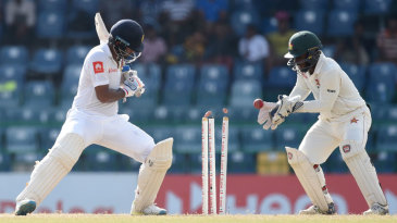 Dimuth Karunaratne was bowled by a big turner from Sean Williams