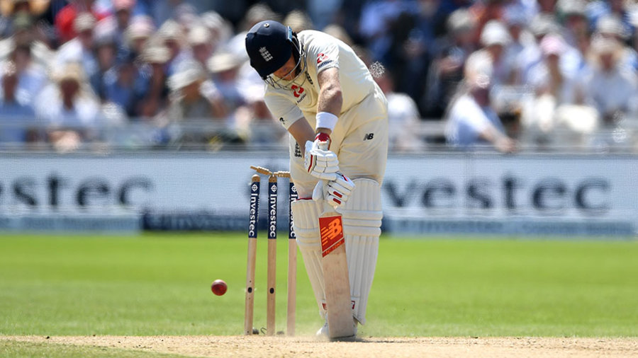 Joe Root was cleaned up by a superb yorker from Chris Morris