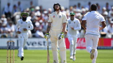 Ben Stokes couldn't believe it when he punched a return catch to Vernon Philander