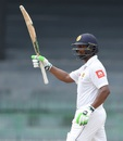 Asela Gunaratne acknowledges his fifty, Sri Lanka v Zimbabwe, only Test, 5th day, Colombo, July 18, 2017
