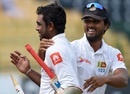 Dilruwan Perera and Dinesh Chandimal are all smiles after Sri Lanka's win, Sri Lanka v Zimbabwe, only Test, 5th day, Colombo, July 18, 2017
