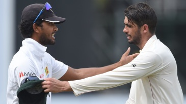 Dinesh Chandimal and Graeme Cremer shake hands after the match