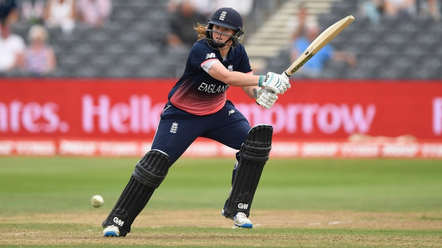Anya Shrubsole plays the shot that put England in the final