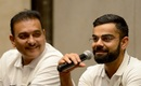 Ravi Shastri and Virat Kohli address the media before departing to Sri Lanka, Mumbai, July 19, 2017