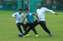 Bowling coach Courtney Walsh joins Bangladesh players as they engage in some football, Dhaka, July 20, 2017
