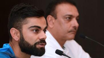 Virat Kohli and Ravi Shastri speak at a press conference