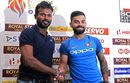 Virat Kohli and Upul Tharanga share a moment at a press conference, Colombo, July 20, 2017