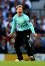 Gareth Batty, in typically aggressive mood, Surrey v Essex, NatWest Blast, South Group, Kia Oval, July 19, 2017