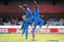 Shikha Pandey and Sushma Verma celebrate a wicket, Australia v India, Women's World Cup, semi-final, Derby, July 20, 2017