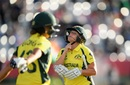 Alyssa Healy reacts after losing her wicket, Australia v India, Women's World Cup, semi-final, Derby, July 20, 2017