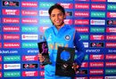 Harmanpreet Kaur with the match award, Australia v India, Women's World Cup, semi-final, Derby, July 20, 2017