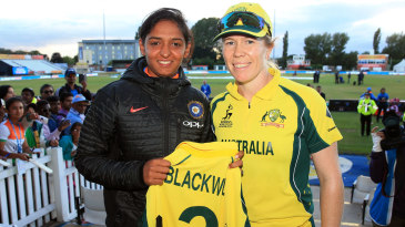 All smiles: Harmanpreet Kaur and Alex Blackwell