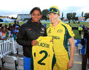 All smiles: Harmanpreet Kaur and Alex Blackwell, Australia v India, Women's World Cup, semi-final, Derby, July 20, 2017