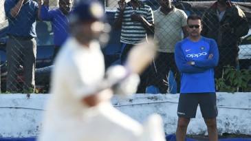 India coach Ravi Shastri watches on