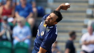 Ravi Bopara bowls against Kent