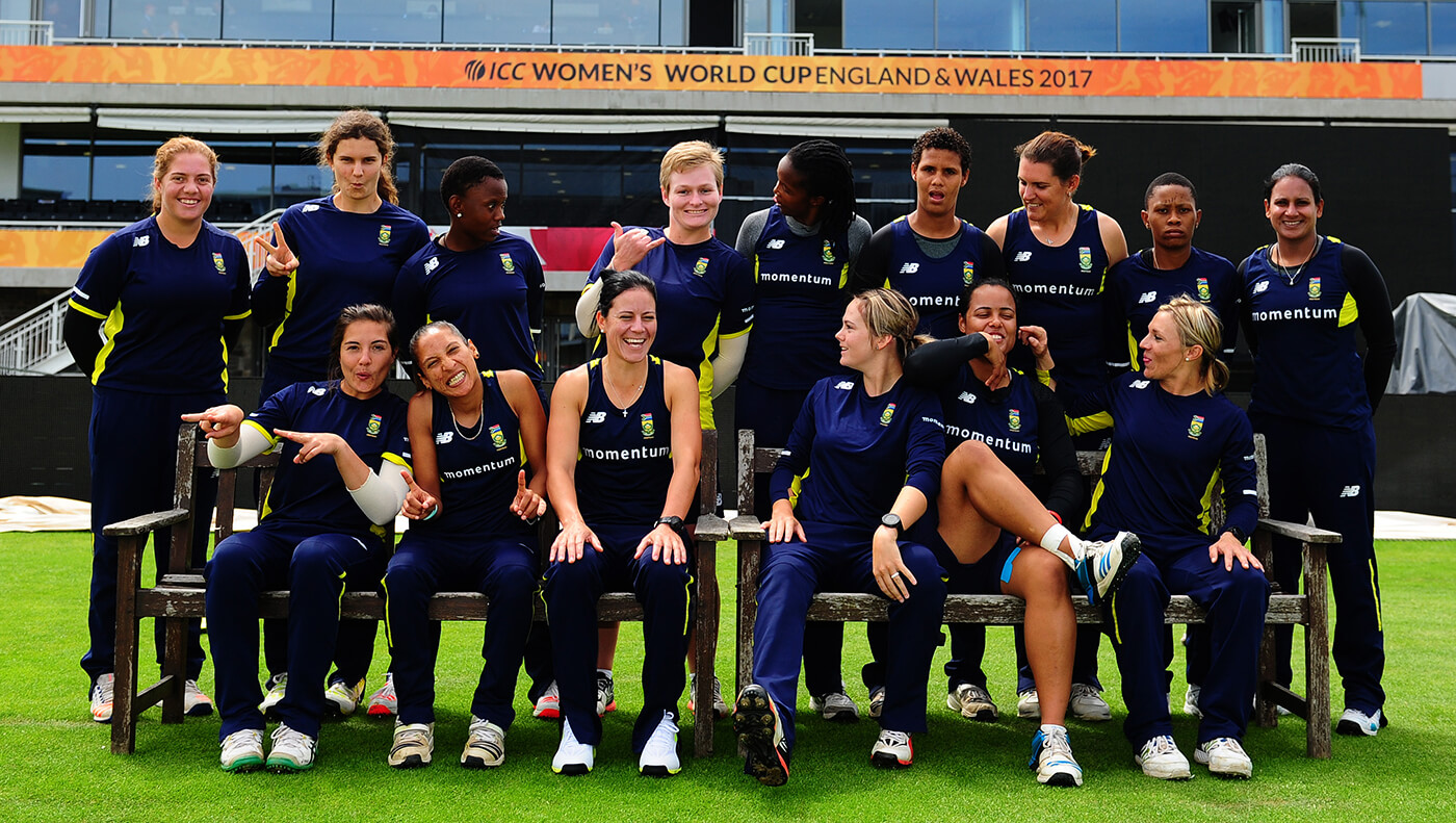 The South Africa women's players goof around during a photo shoot