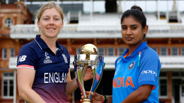 Heather Knight and Mithali Raj pose with the World Cup at Lord's