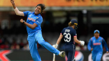 Jhulan Goswami exults after pinning Natalie Sciver plumb in front