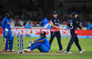 Shikha Pandey looks dejected after falling short of the crease, England v India, Women's World Cup final, Lord's, July 23, 2017