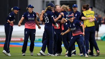 England celebrate after wrapping up the Indian innings