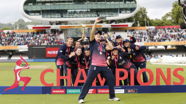 The English team poses for a selfie with their trophy