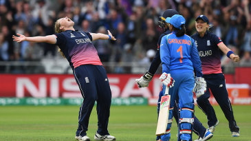 Anya Shrubsole takes the wicket to win the World Cup