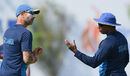 Sri Lanka's interim coach, Nic Pothas, and fast-bowling coach, Chaminda Vaas, supervise a training session, Galle, July 25, 2017