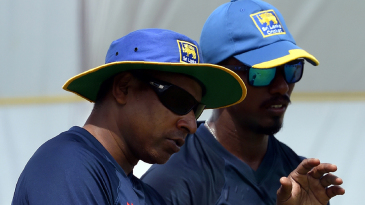 Chaminda Vaas shares a few tips with fast bowler Vishwa Fernando