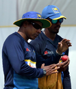 Chaminda Vaas shares a few tips with fast bowler Vishwa Fernando, Galle, July 25, 2017