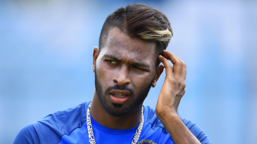 Hardik Pandya works it out in the nets