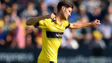 David Payne celebrates a wicket