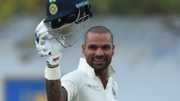 Shikhar Dhawan made his fifth Test century
