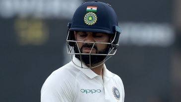 Virat Kohli is seemingly disappointed after being dismissed for 3