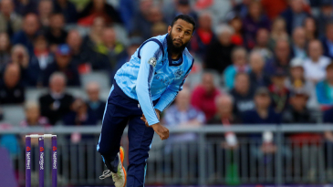 Adil Rashid bowls for Yorkshire