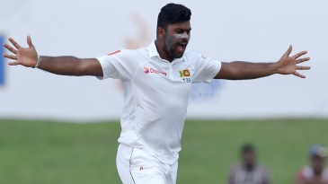 Lahiru Kumara celebrates the wicket of Ajinkya Rahane