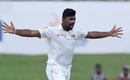 Lahiru Kumara celebrates the wicket of Ajinkya Rahane, Sri Lanka v India, 1st Test, Galle, 2nd day, July 27, 2017