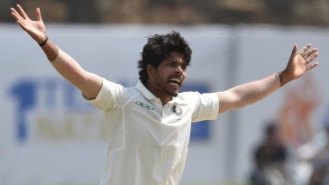 Umesh Yadav appeals for the wicket of Dimuth Karunaratne